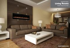 """Living room Prism Series 74"""" Wall-mount - The best-selling electric linear fireplace just got better with the all new Prism Series. Sparkling with intensity in a full spectrum of RGB colors, the Prism series flame effect illuminates the diamond-like acrylic ice ember bed in a show-stopping effect. Complete with a powerful and efficient fan-forced heater, this fireplace adds comfort and ambiance to any space. Plugged in or hard-wired, hung on the wall or built-in; the Prism series is…"""