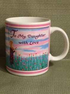 """Daughter Coffee Cup; """"To My Daughter With Love"""" Coffee Cup; Blue Mountain Art Coffee Cup Coffee Mug Tea Cup by Pamsplunder on Etsy"""