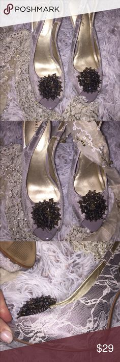 Kelly & Katie platform lace n beaded platform heel Kelly & Katie platform lace n beaded platform heel sz 8.5. Wore to my sister's wedding so some wear from dancing. Nothing a little polish couldn't fix. See pics for details. No box. Low price bc of left heel in pic. Kelly & Katie Shoes Platforms