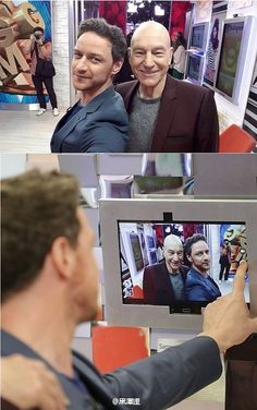 Patrick Stewart and James McAvoy take a selfie X Man Cast, Glasgow, X Men Funny, James Mcavoy Michael Fassbender, Patrick Stewart, Crush Facts, Cherik, Smart Men, Photo P