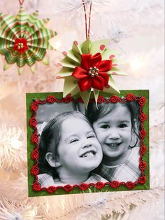 Memory Maker  Frame—Use a favorite photo with Christmas paper and trims for a touch of nostalgia. Use a black-and-white photo, which will stand out against the colorful embellishments.