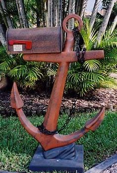 Salvaged Anchor Mailbox for beach house, home garden decor; diy, salvage, recycle, upcycle, repurpose!