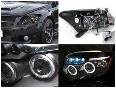 2007-2012 Dodge Caliber Halo LED Projector Headlights Black on eBay!