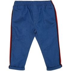 Gucci Kids-boys Denim Effect Cotton Sweatpants (€145) ❤ liked on Polyvore featuring denim