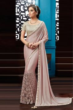 Pink Colour Chiffon Fabric Party Wear Saree Comes with matching blouse. This Saree Is crafted with Thread Work,Embroidery,Lace Work This Saree Comes As a Semi stitched Which Can Be Stitched Up to Size...