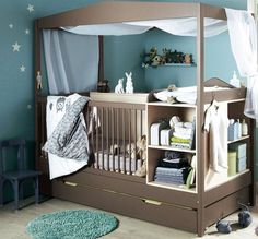 Endearing Design Modern Nursery Furniture features Grey Color Wooden Baby Crib With Canopy and Mounted Wooden Changing Table With Shelves Baby Nursery Furniture, Baby Nursery Themes, Nursery Room, Nursery Ideas, Bedroom Ideas, Bedroom Furniture, Babies Nursery, Budget Bedroom, Apartment Furniture