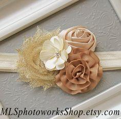 Golden Cream & Tan Baby Flower Headband  by MLSPhotoWorksShop, $7.25