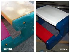 DIY Project: Spray Paint Plastic Outdoor Toys using Krylon Fusion for plastic... Definitely would LOVE to do this for our IKEA table and chairs that are a hideous green...