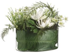 Water Lily, Allium and Lace Fern Arrangement in Oval Glass Vase, Cream and Green