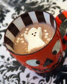 Halloween Peeps as hot choco marshmallows