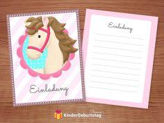 Pferde Einladungskarten zum Kindergeburtstag kostenlos downloaden