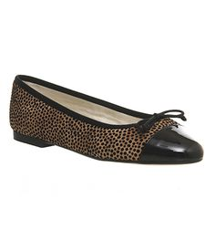 Office Cecilia Toe-cap Ballerina Flocked Leopard - Flats