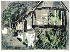 Courthouse, Long Crendon, Buckinghamshire 1978 x 580 mm) by John Piper Artwork Type: Drawing; John Piper, John Minton, Wood Engraving, Art Techniques, Art Forms, Impressionist, Printmaking, Landscape, Drawings