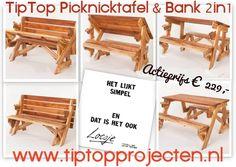 Opvouwbare picknicktafel & bank 2in1... in 3 seconden van tuinbank naar tafel. Een inklapbare picknicktafel dus... of een uitklapbare tuinbank :-)