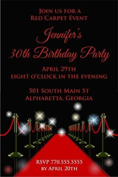 Red Carpet Invitation Personalized Party Invites