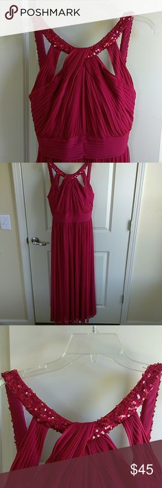 Empire Waist Red Evening Dress Sequins Neck Detail Empire Waist Red Evening Dress Sequins Neck Detail. Back zipper. Comfy Stretchy material.  I had it hemmed to fit me. Length 57 Chest 19 Waist 15 Alex Evenings Dresses Maxi