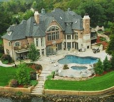 ~ Yvonne Amazing_Lake_Home_Mansion_Beautiful_Villa_Pool_Castle_Backyard Big Houses, House Goals, Dream Decor, My Dream Home, Dream Homes, Dream Big, Exterior Design, Future House, Luxury Homes