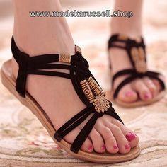 Flachen Damen Sandalen in Gladiator Style Schwarz
