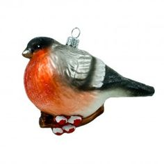 A Bullfinch Bullfinch, Brokat, Glass Christmas Ornaments, The Incredibles, Hand Painted, Bird, Animals, Painting, Beautiful
