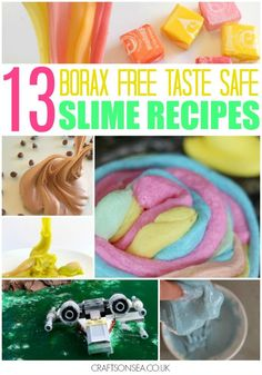 Taste safe or totally edible! 13 Borax free slime recipes that are glue free too. Safe slime recipes for kids that they'll love for fun sensory play.
