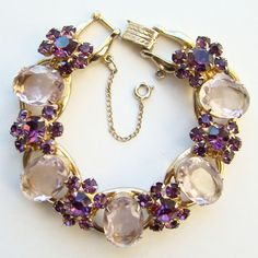Juliana Lavender Rhinestone Large Oval Bracelet 5 Link DeLizza & Elster Book Piece