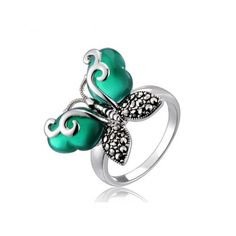 Green Agate Marcasite Silver Stylish Butterfly Ring