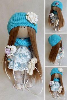 Fabric doll Interior doll Tilda doll Interior doll Art doll Handmade doll Blue doll Soft doll Textile doll Cloth doll by Master Oksana G.