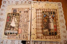 We had to do 16 cards so I decided to split mine up into two different images using the same vintage bingo card as the background. These two are mine. Bingo Board, Card Book, Altered Books, Mini Books, Mini Albums, Vintage World Maps, Old Things, Scrapbook, Free
