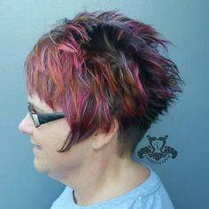 Choppy Pixie With Pink And Orange Highlights