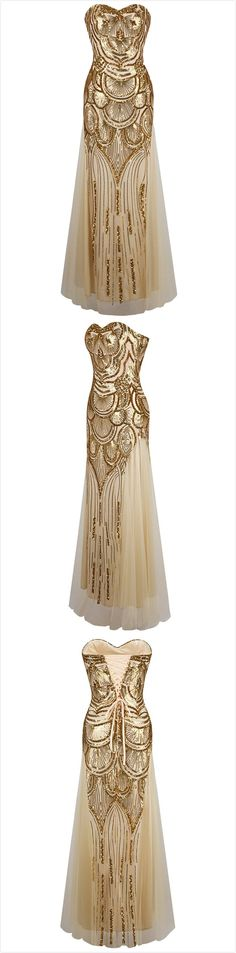 Women's Sequin Decor Lace up Back Prom Dress.Check more from www.oasap.com .