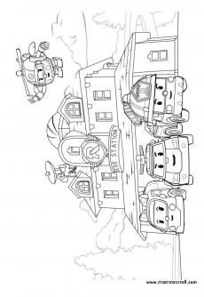 ภาพวาดระบายส Robocar Poli 33 การพ มพ