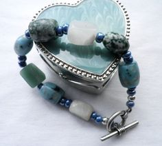 Ocean Shades of Blue Bracelet  $20.00 - It's Better Handmade and Lovely - #ibhandmade I have always love shades of blue except the dark as black ones.