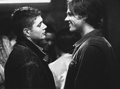 Sam and Dean. They're adorable, but I can't help noticing that Dean's staring at Sam's lips