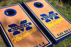 2caf046c Michigan Wolverines GO BLUE Cornhole boards by Cornholetherapy Make Cornhole  Boards, Cornhole Designs, Football