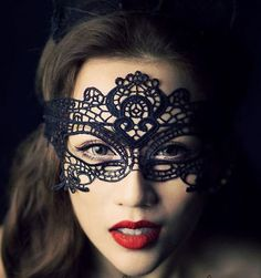 1pcs Black Stunning Venetian Masquerade Eye Mask Party Lace Fancy Dress-6
