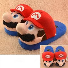 Shop Super Mario Brothers Plush Slippers from Shoprapy ! Super Mario And Luigi, Super Mario Brothers, Super Mario Costumes, Funny Shoes, Cute Slippers, Winter Shoes, New Kids, Gifts For Kids, Sheepskin Slippers