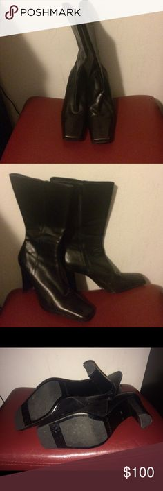 Black leather Charles David boots, mid-calf They are soft and beautiful, only worn once, until I realized that the front was too flat for me.  They are great for someone who likes that. Charles David Shoes Heeled Boots