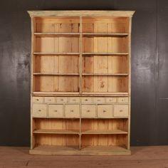 19th Century French original painted shop display dresser. Antique Pine Furniture, Painting Antique Furniture, Painted Furniture, Antique Dressers, Pine Dresser, French Dresser, Selling Antiques, Paint Shop, Storage Rack