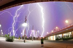 This composite shot was taken as a summer electrical storm hit Athens, Greece. Photographer Chris Kotsiopoulos dashed from his home to the Olympic Stadium when he heard the thunder and lightning and came back with this awesome shot.