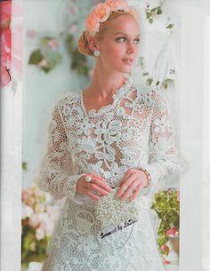 Свадебное платье. Ирландское (сцепное) кружево. Журнал мод 578  Irish lace wedding dress   #wedding_dress  #Irish_lace_wedding_dress  #Crochet_flower_dress