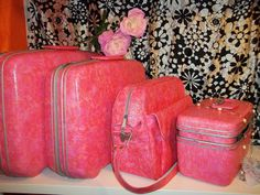 Vtg Pink Coral Marble Samsonite Silhouette Luggage Set Train Case Suit case Bag