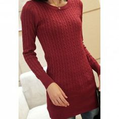 $10.58 Long Sleeves Acrylic Scoop Neck Solid Color Refreshing Style Cable-Knit Sweater For Women
