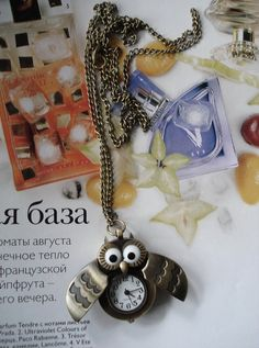 SALE 10  OFF Necklace Pendant Owl Pocket Watch by Azuraccessories, $5.93