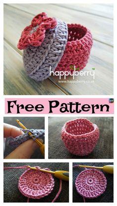 5 Pretty Crochet Trinket Box Free Patterns #freecrochetpatterns #box #trinketbox #storage