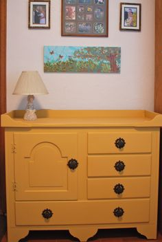 """This was my mother's 1950's hutch that I just painted using Annie Sloan's """"Arles"""" chalk paint. What an update from the old maple varnish!"""