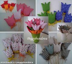 Šité dekorace tulipány