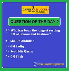 "#CAREERSUCCESS | ""Question of the Day"" Current Affairs Quiz To Attempt Complete Quiz, Visit Like #Career Success FB page www.facebook.com/careersuccess9419145317/ Question Of The Day, This Or That Questions, Sheikh Abdullah, Current Affairs Quiz, Best Bank, Career Success, Fb Page, Coaching, Facebook"