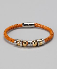 Gold & Orange Leather Bracelet by Regal Steel