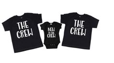 Sibling Shirts- The Crew and New To The Crew- Sibling shirts set of New baby Gift- New baby Brother- New Baby Sister Big Sister Bag, Baby Sister, Sibling Shirts, Sister Shirts, Baby Shower Host, Gifts For Brother, Crew Shirt, Diy Shirt, New Baby Gifts