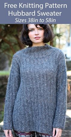 """Free Sweater Knitting Pattern Hubbard Pullover - Long sleeved pullover sweater knit in a 1 row repeat mistake stitch. Sizes Bust 38(42-46-50-54-58)"""". Bulky weight yarn. Designed by Amanda Keep Williams for Berroco."""